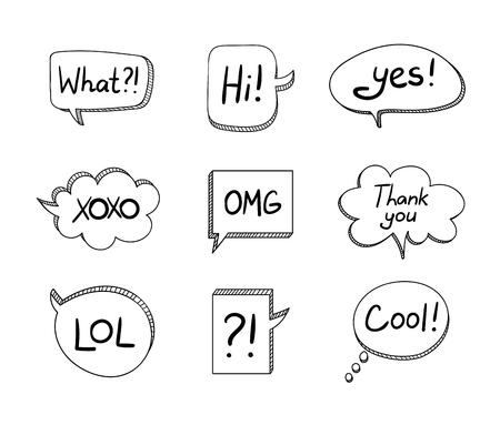 Vector Set of Hand Drawn 3D Cartoon Talk Bubbles Isolated on White Background, Black Design Elements Collection.