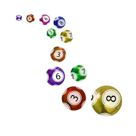 Vector Colorful Lottery Balls, Different Numbers and Colors Flying Objects.