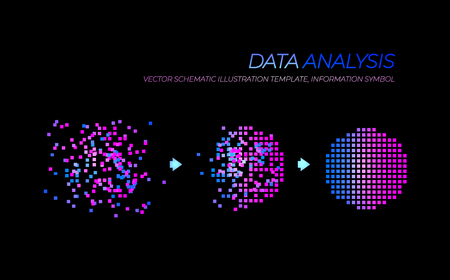 Vector Glowing Big Data Analysis Illustration, Technology Elements Isolated on Black Background. Illustration