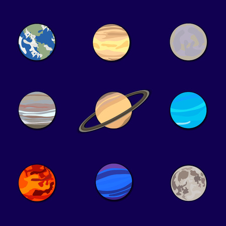 Vector Set of Planets on Dark Blue Sky Background, Solar System Illustration, Paper Cutout, Decorative Elements.