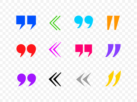 Vector Colorful Quote Marks Collection, Commas, Black Icons Isolated on Tranpsparent Background.