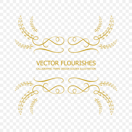 Vector Golden Calligraphic Frame, Flourish Design Element Isolated on Transparent Background, Ornamental Border Template. Vettoriali