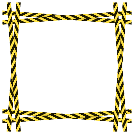 Vector Yellow and Black Dangerous Ribbons Frame Isolated on White Background, Colorful Border Blank Template.