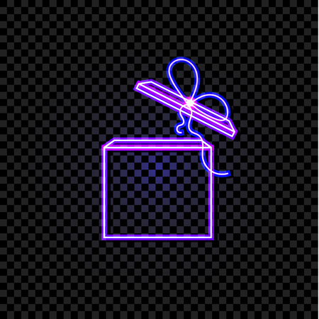 Vector Neon Ultraviolet Gift Box Isolated on Dark Transparent Background, Shining Illustrtaion, Glowing Icon. Stock Vector - 114888266