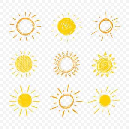 Vector Doodle Sun, Set of Hand Drawn Funny Icons Isolated on Light Transparent Background,.