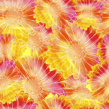 Vector Seamless Pattern, Floral Colorful Background, Watercolor Painting Flowers, White Contour Line. 向量圖像