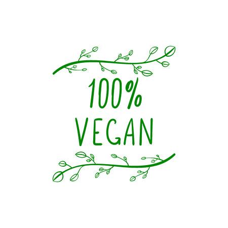 Vector 100 Persents Vegan Lettrage, Green Hand Drawn Design Element Isoalted sur fond blanc.
