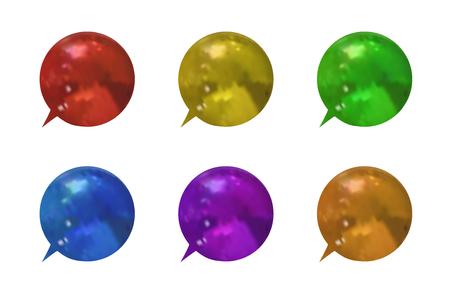 acf40231d Vector Set of Colorful Metallic Textured 3D Talk Bubbles