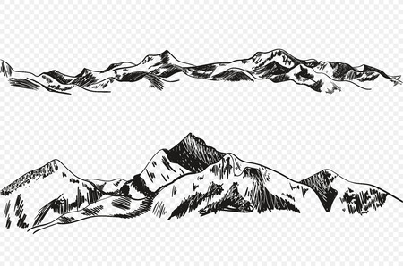 Vector Hand Drawn Mountains, Sketchy Illustration Isolated on Light Transparent Background, Nature Sketch.