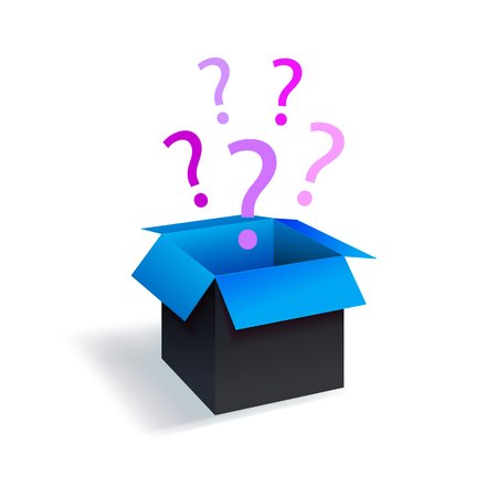 Vector Surprize Box, Black and Blue Box with Magenta Question Marks Isolated on White Backgroud, Mystery Concept.