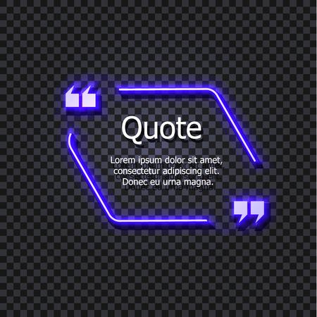 Modèle de cadre de citation de vecteur Gowing isolé sur fond transparent foncé, illustration brillante, néon.