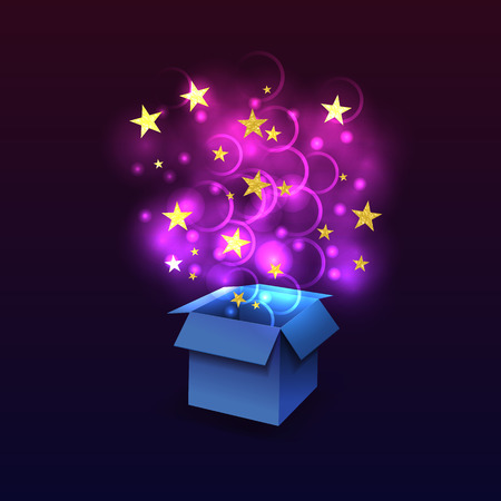 Vector Box with Fying Outside Magic Lights, Glittering Textured Stars, Blue and Ultra Violet Glowing Illustration. Stock Illustratie