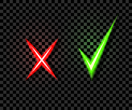 Vector Neon Check and Cross Marks, Green and Red Colors, Isolated on Dark Transparent Background Illustration.