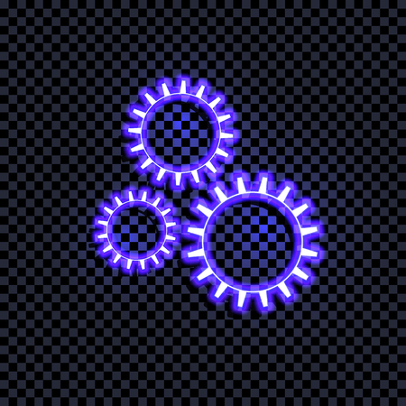 Vector Bright Blue Glowing Gears Icon Isolated on Dark Transparent Background, Coorful Sign with Shadow, Technology Symbol. Reklamní fotografie