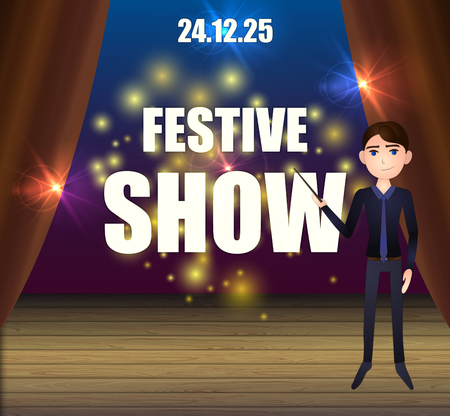 Vector Cartoon Festive Show Background, Man on the Stage with Magic Lights.