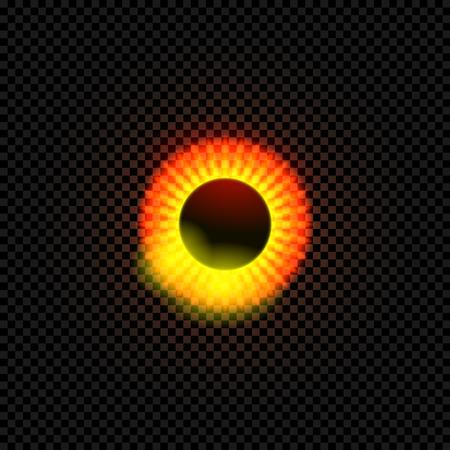 Trou noir de vecteur isolé sur fond sombre, illustration brillante, cercle noir et rougeoyant.