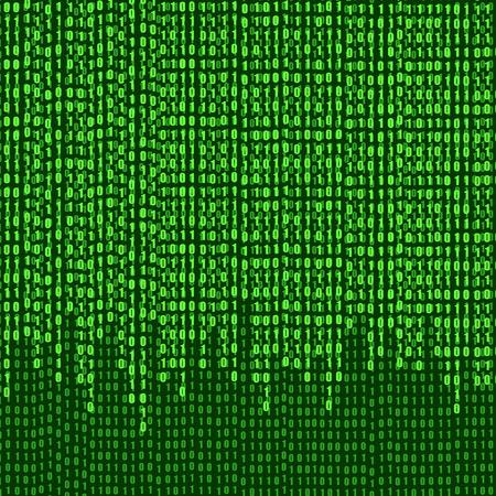 Flux de numéros de code binaire vectoriel, arrière-plan technologique, illustration brillante verte.