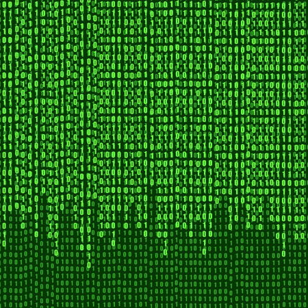Vector Binary Code Numbers Stream, Technology Background, Green Shining Illustration.