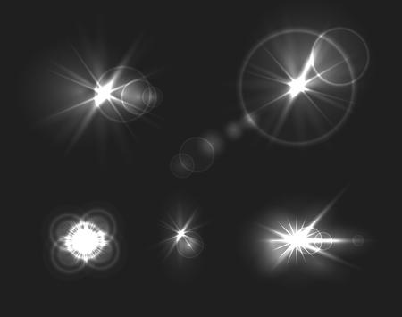Vector Glare on Dark Background, Underwater Shine, Monochrome Design Elements Template.