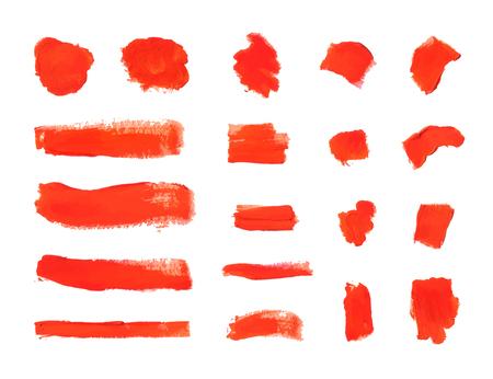 Tratti di pennello vettoriali, macchie di vernice rossa testurizzata isolati su sfondo bianco, collezione di elementi di design. Vettoriali