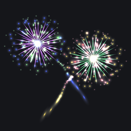 Vector Colorful Fireworks, Festive Shining Elements on Dark Night Sky Background.