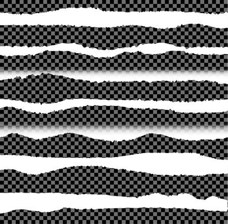 Vector Torn Paper Edges, Design Elements Set on Dark Transparent Background.