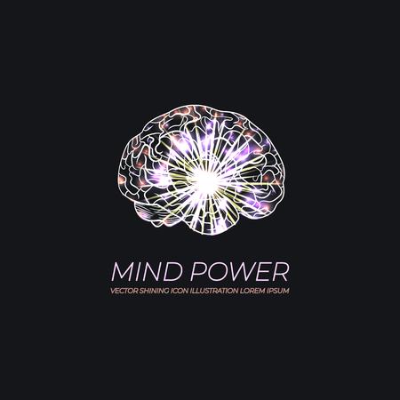 Vector Glow Brain Illustration, Logo, Shining Scientific Image of Human Brain, Artificial Intellegence Concept.