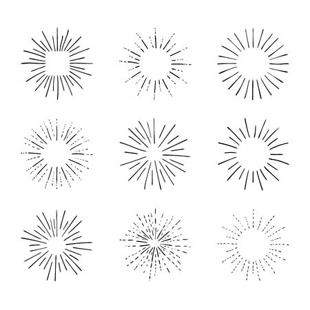 Vector Collection of Retro Light Rays, Isolated on White Black Outline Drawings, Vintage Sketch Design Elements Collection.