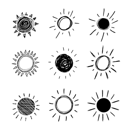 Vector Doodle Sun, Set of Hand Drawn Black Icons Isolated on White Background. Ilustração