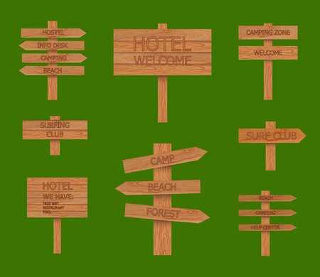 Vector Camping Wood Signs Set, Beach Pointer, illustration Isolated on Bright Green Background.