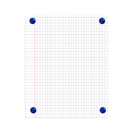 Vector Note Paper Sheet Pinned by Realistic Blue Pin Buttons Isolated on White Background. Graph Paper Background. Ilustração