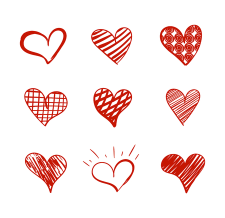 Vector Doodle Hearts Collection, Hand Drawn Red Icons Isolated on White Background.