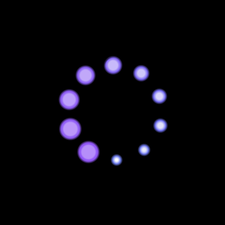Vector Purple Blue Loader Icon, Neon Light Bright Color, Circle Shape Glowing on Black Background. Ilustração