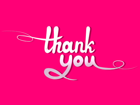 Vector Lettering: Thank You, White Design Element Isolated on Bright Pink Background.