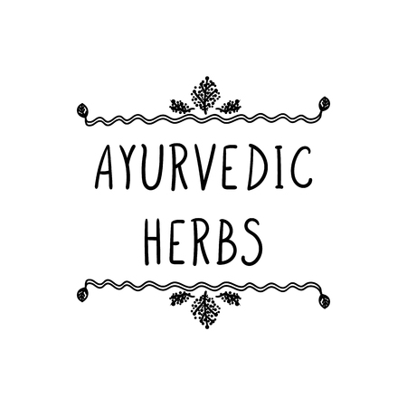 Vector Ayurvedic Herbs Lettering in Floral Frame, Hand Drawn Black and White Illustration.