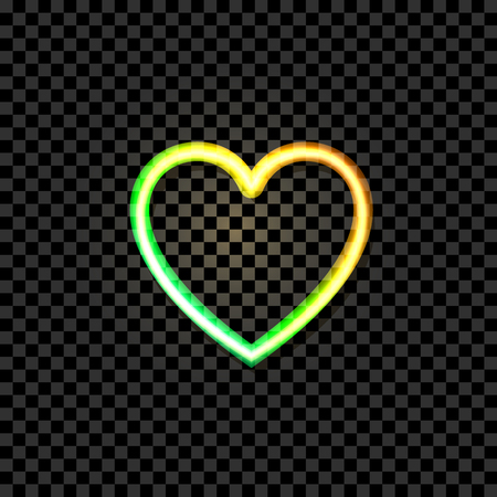Vector Glowing Heart Icon, Neon Illustraton, Yellow and Green Bright Colors, Object Isolated on Dark Transparent Background.