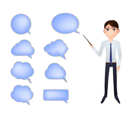 Vector Business Man with a Pointer in the Hand, Talk Bubbles Collection, Isolated on White Background Illustration, Blank Frames Set.