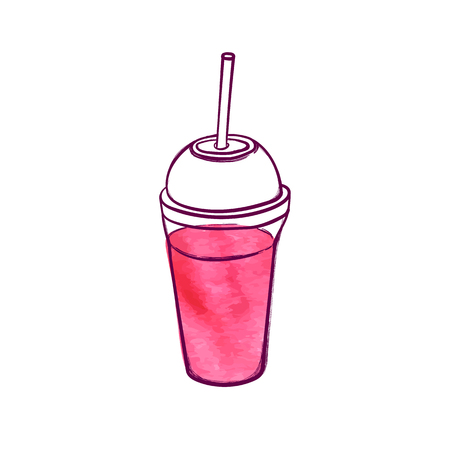 Vector Hand Drawn Pink Fresh Cocktail, Smoothie Illustration Isolated on White Background, Colorful Watercolor Drawing. Ilustração