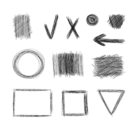 Vector Set of Hand Drawn Sketch Elements Isolated on White Background, Black Freehand Drawings.