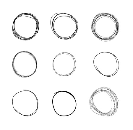 Vector Hand Drawn Circles, Line Sketch Set Isolated on White Background, Circular Scribble Doodles, Round Shapes, Mark Design Elements, Pencil and Pen Drawings, Bubbles, Balls Illustration.