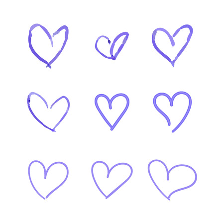 Vector Set of Hand Drawn Hearts, Blue Ballpen Drawings Isolated on White Background, Outline Icons Set, Unique Painted.