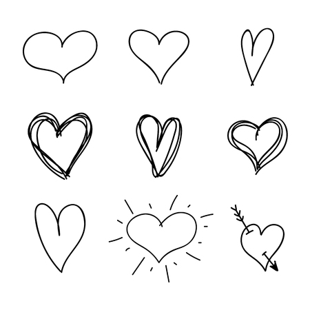 Vector Set of Nine Hand Drawn Hearts, Handdrawn Rough Marker Icons, Black Drawings Isolated on White Background.