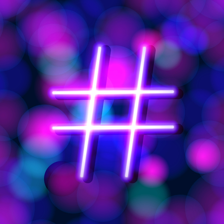 Vector Neon Glowing Hashtag on Shiny Background, Pink and Blue Bright Colors, Colorful Background.
