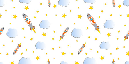 Vector Seamless Pattern, Rocket Launch Background, Colorful Illustration Template, Spaceship, Stars and Clouds, Paper Art Style.