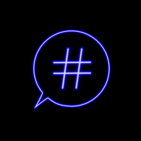 Vector Neon Hashtag Icon in the Talk Bubble Isolated on Black Backgound, Simple Element Illustration, Social Media Marketing, Glowing Sign.