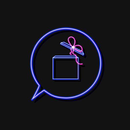 Vector Neon Gift Box in Talk Bubble Blue Frame Isolated on Black Background, Bright Light, Icon Template. Ilustração