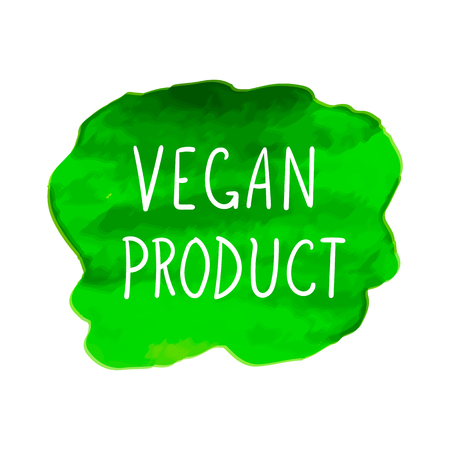 Vector Watercolor Spot with Vegan Product Lettering, Hand Drawn Letters, Illustration Isolated on White Background, Green Bright Colorful Icon.