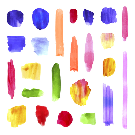 Vector Colorful Watercolor Brush Strokes Collection Isolated on White Background, Realistic Paint Texture, Splashes and Dots, Artistic Hand Drawn Background. Ilustração