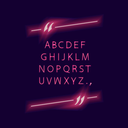 Vector Alphabet in Quote Frame, Neon Glowing Lights, Isolated on Dark Background Typeset and Quotation Border, Ultraviolet Color.
