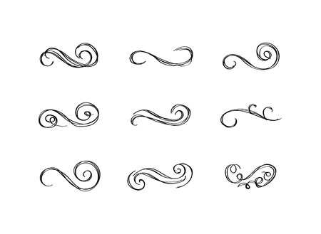 Vector Vintage Hand Drawn Filigree Swirls Isolated on White Background, Black Drawings Set. Ilustração